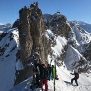 Couloir skiing in Courchevel with gap students