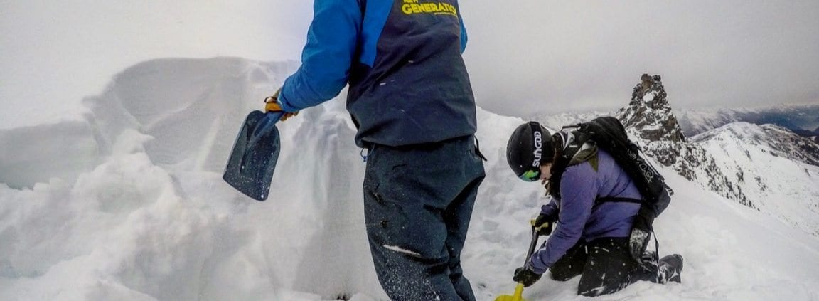 Digging a snow pit