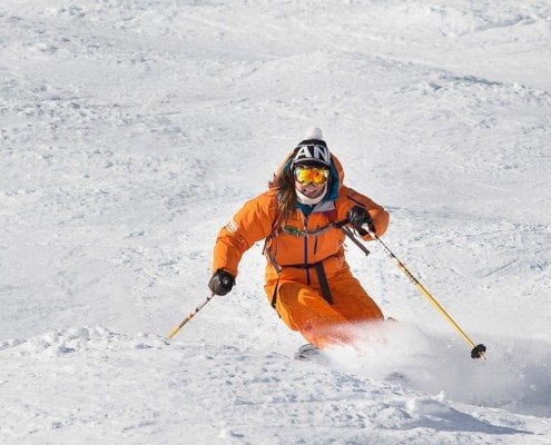 Lynn Sharp enjoying some skiing with our trainee instructors