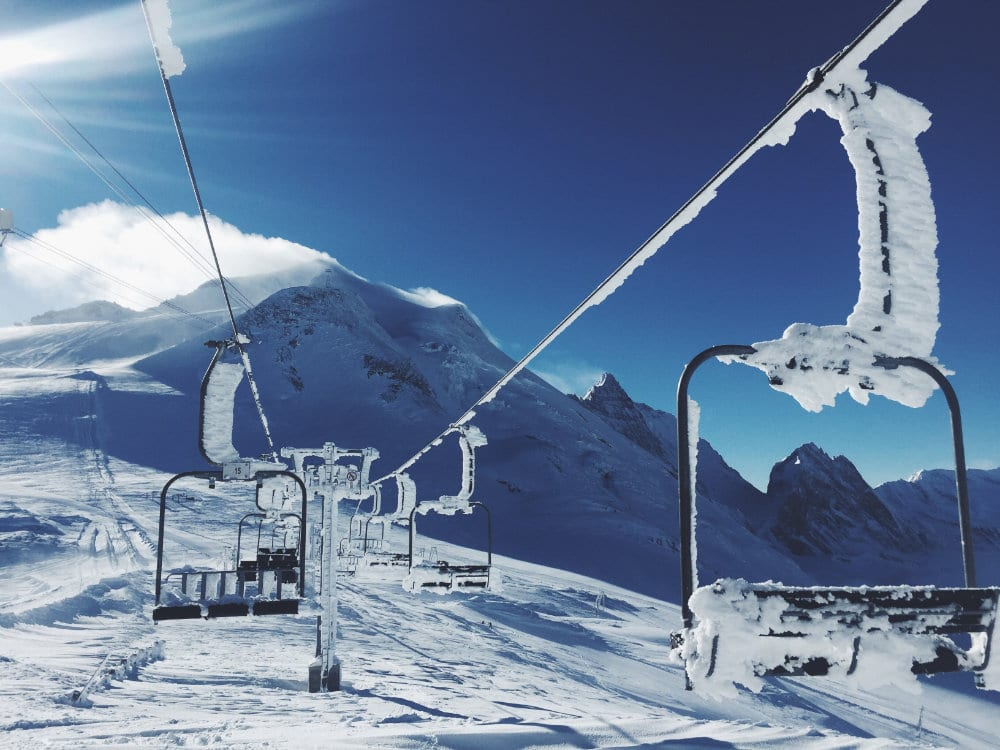 The old fashioned chairlifts on the tignes glacier